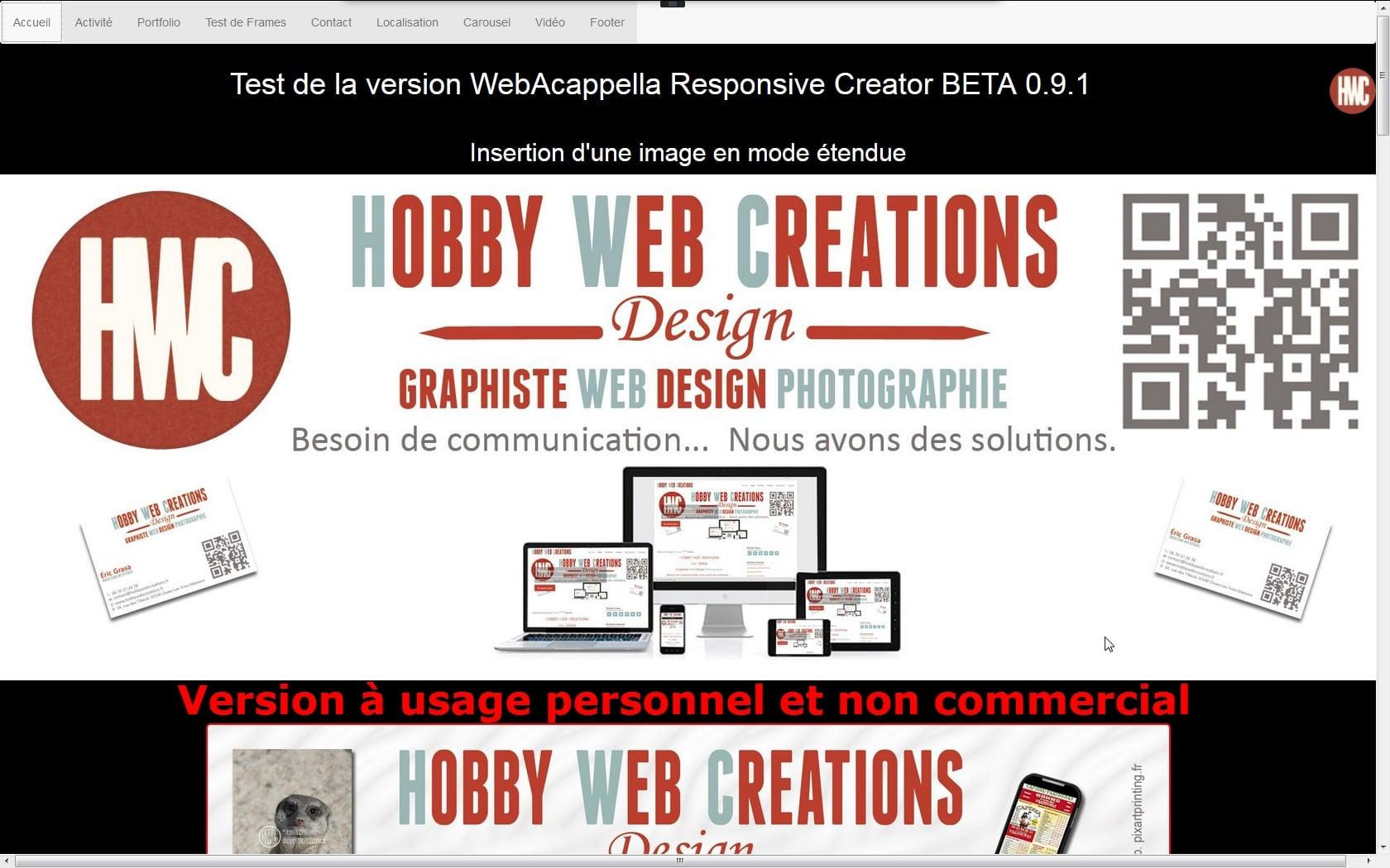 Webacappella responsive creator beta 0 9 1 1 for Copie ecran