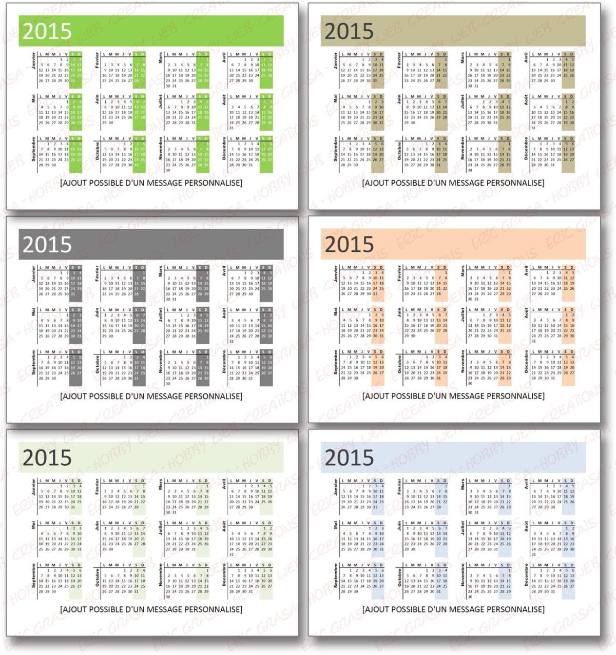 Calendrier 2015 de poche pour vos clients